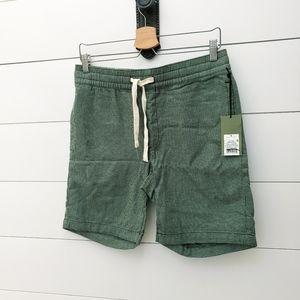 Mens green textured drawstring shorts sz S